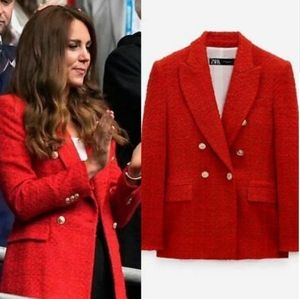 Zara Nwt M Sold Out Kate Red Textured Blazer Coat
